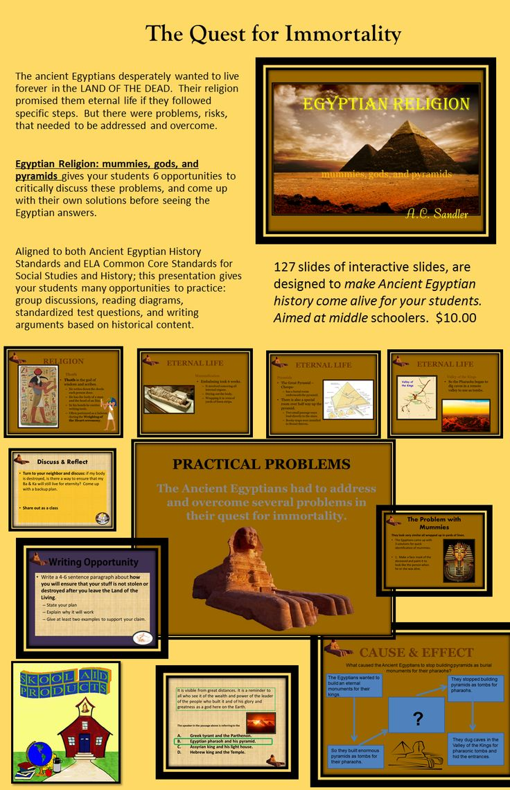 The ancient Egyptians loved life and the world around them. They believed that not even death would end this love. The Egyptians observed that the desert naturally mummified the dead and so evolved their religious belief that immortality was dependent on a recognizable physical body. This presentation is about that quest. It is highly engaging and full of interesting discussions and writing activities. Common Core Standards RH.6-8.1, RH.6-8.5, RH.6-8.7, WHST.6-8.10, SL.7.2, SL.7.1  $ 127…