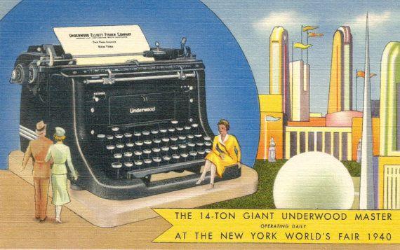 Giant Underwood typewriter New York World's Fair vintage