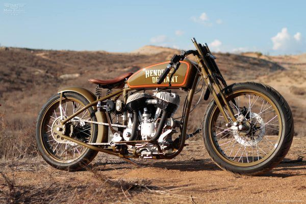 One of them is built by Mike Tomas of Kiwi Indian Motorcycle Company in Riverside, California. His board track racer called 'Hendee Deviant'