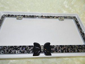 Gorgeous Sparkly Blingy Black and Clear CRYSTALS Bling Crystallized LICENSE PLATE FRAME Metal Classy Best Selling Frames