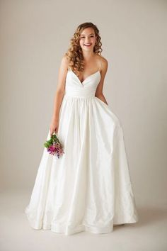 simple silk thin strap wedding gown by Astrid and Mercedes