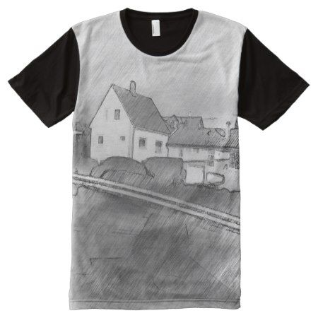 House photo drawing All-Over-Print T-Shirt - tap, personalize, buy right now!