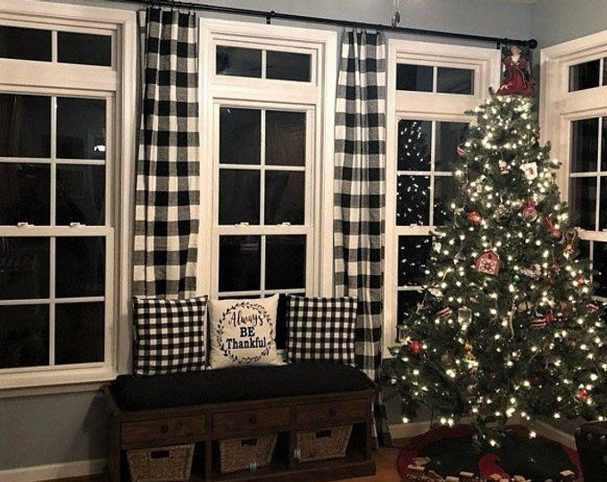 Black And White Buffalo Check Curtains 24 Width And 50 Width Etsy Buffalo Check Curtains Farm House Living Room Check Curtains