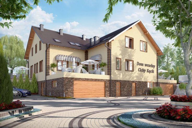 Projekt budynku gastronomicznego z zapleczem noclegowym i mieszkaniem właściciela, pełniący funkcję domu weselnego lub restauracji K-58, parterowy poddaszem użytkowym, podpiwniczony. Budynek może również pełnić funkcje pensjonatu, motelu lub zajazdu.