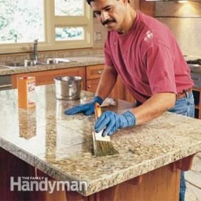 Use granite tile to create the look of  a stone slab or solid surface countertop for your kitchen or bathroom – for a  fraction of the cost.