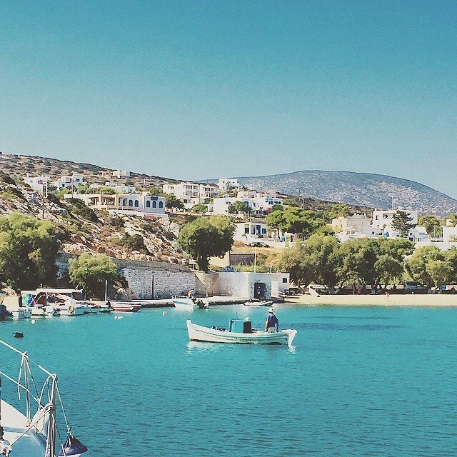 The peaceful Iraklia island (Ηρακλειά) part of the small Cyclades. Wonderful traditional fishing boat and relaxing natural beauty .