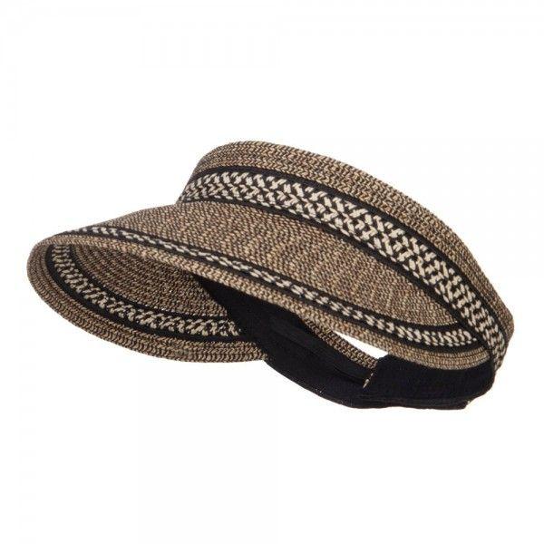 UPF 50+ Herringbone Braid Rollable Visor - Black Tweed