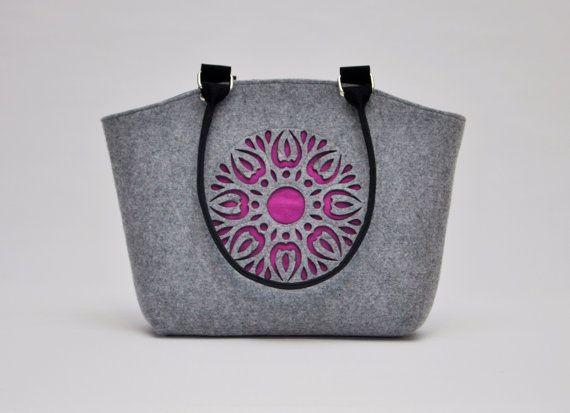 Felt Bag Handbag Purse Design Boho Folk Felt by CelticSecrets
