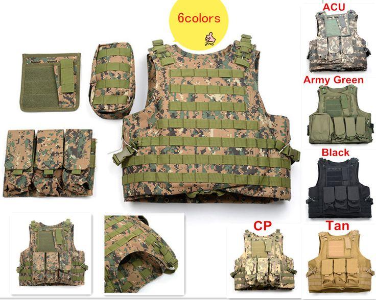 6 Colors Multi Pockets Military Tactical Vest 800D Oxford Multicam Mello Airsoft Paintball Vest US Army Miltary Security Uniform
