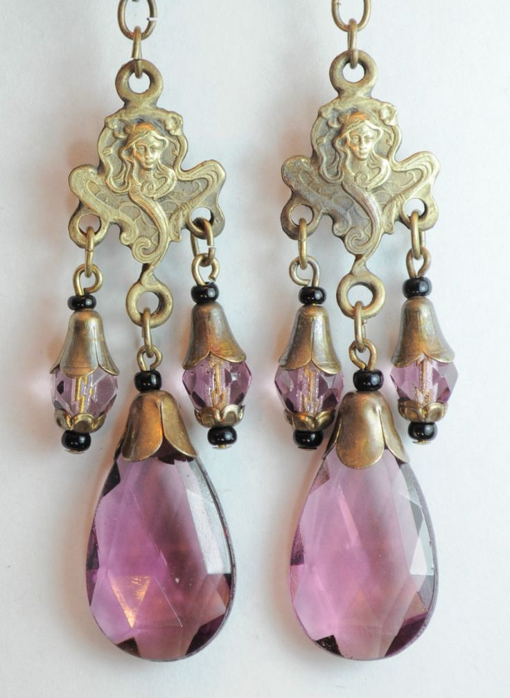 Old Czech glass drop earrings