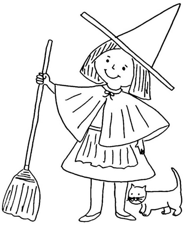 Witch coloring sheets online is a popular type of woman thought to have evil magic powers. Witches are popularly depicted as wearing a black cloak and pointed hat, and flying on a broomstick. These coloring pages feature Halloween coloring book along with other types of pictures such as pumpkin, witch holding a