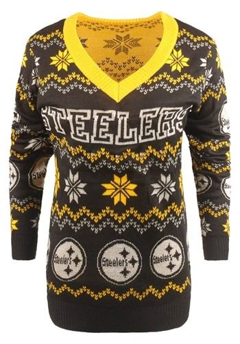b58a3c3af3e Women s Pittsburgh Steelers Light Up V-Neck Bluetooth Ugly Sweater ...