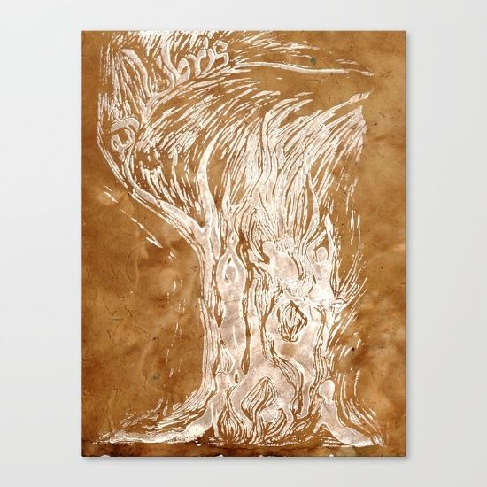Natural Yoga Flow Canvas Print by #isdesignlabs -- #print #yoga #nature #peace #serenity #harmony #human #silhouette #art #linoblock #lino #woodblock #carved #canvas #earthy