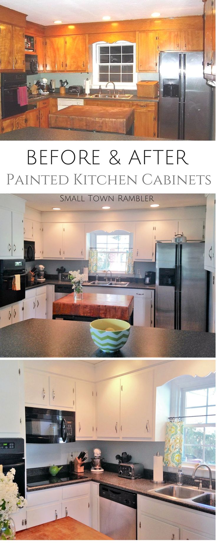 Before and After: Painted Kitchen Cabinets with New Hardware. @benjamin_moore #Kitchen #Interiors