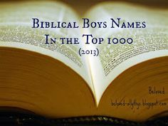 Beloved Baby Names: Biblical Baby Boy Names in the Top 1000 (2013 edition)