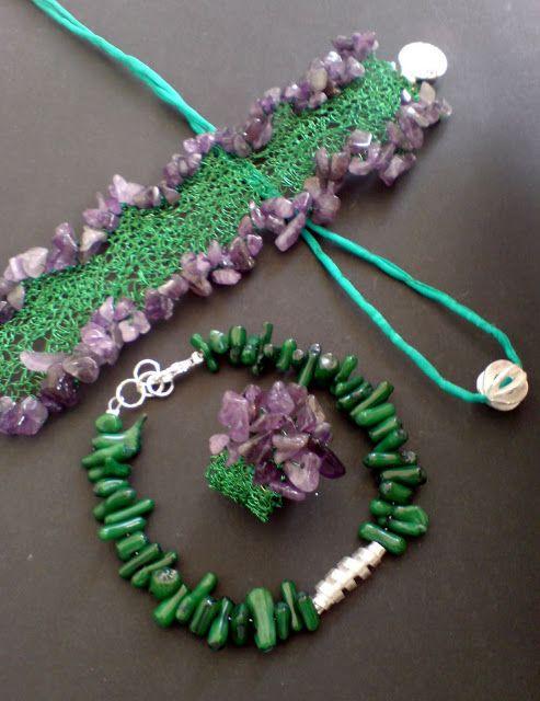 Handmade Wire crochet with semi precious stones