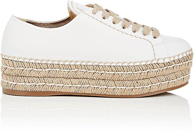 Prada Women's Leather Espadrille Platform Sneakers