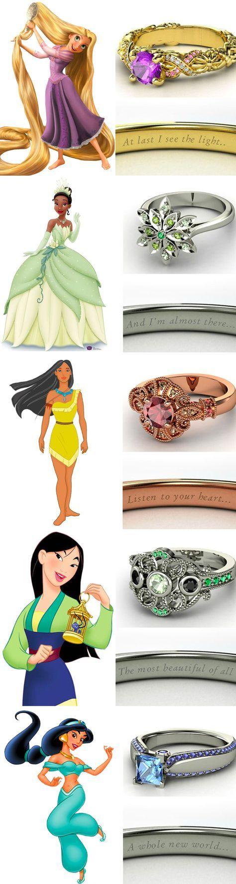 Inspirações | Anéis de noivado das Princesas da Disney  |  Les Divas
