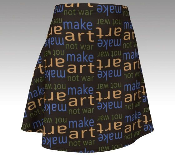 Make art not war skater skirt peace slogan clothing brown blue green pattern print size xs s m l xl activist protest designer maker artist by RedThanet on Etsy