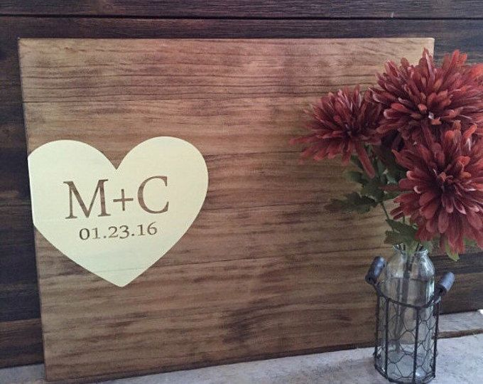 Rustic Wedding Guest Book Alternative / Initials & Heart Guest Book / Painted Wood Guest Book Rustic Wedding Decor Wood Country Wedding Gift