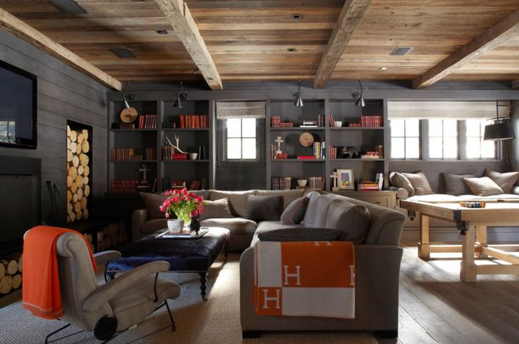 """How to create the ultimate log cabin experience: """"Ultimate Games room"""" stylish pool table and a Hermes blanket. Check and Check."""