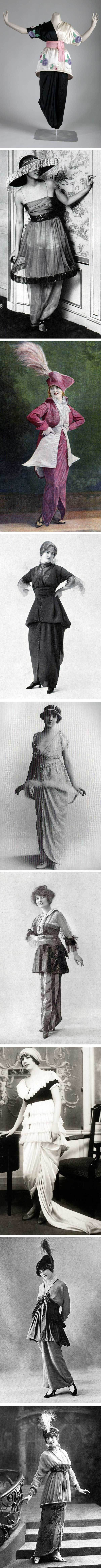 "Paul Poiret popularized the ""lampshade"" dress in 1913. Other designers then jumped on the bandwagon. From top to bottom: Poiret, Poiret, Paquin, Jenny, Abat-Jour, Premet, Poiret, Beer, and Laferrière."