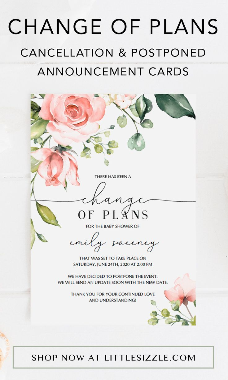 Floral Baby Shower Change Of Plans Card Template Baby Shower Announcement Floral Baby Shower Floral Baby