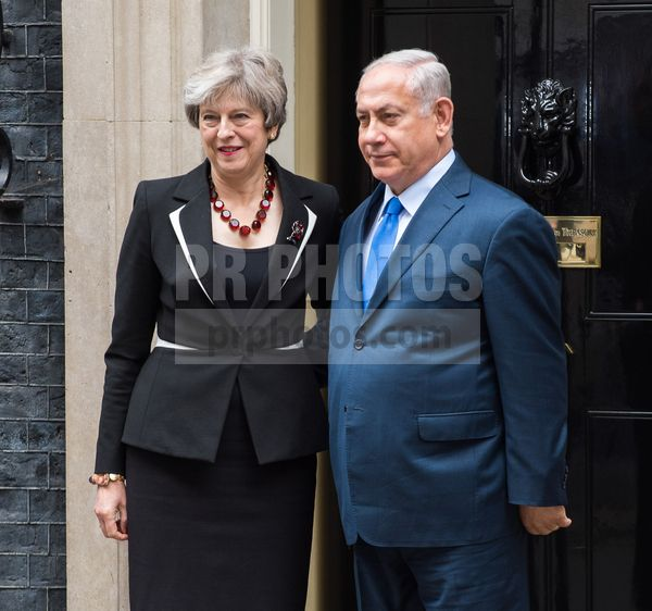 British Prime Minister Theresa May Greets Israeli Prime Minister Benjamin Netanyahu on Downing Street in London on November 2 2017