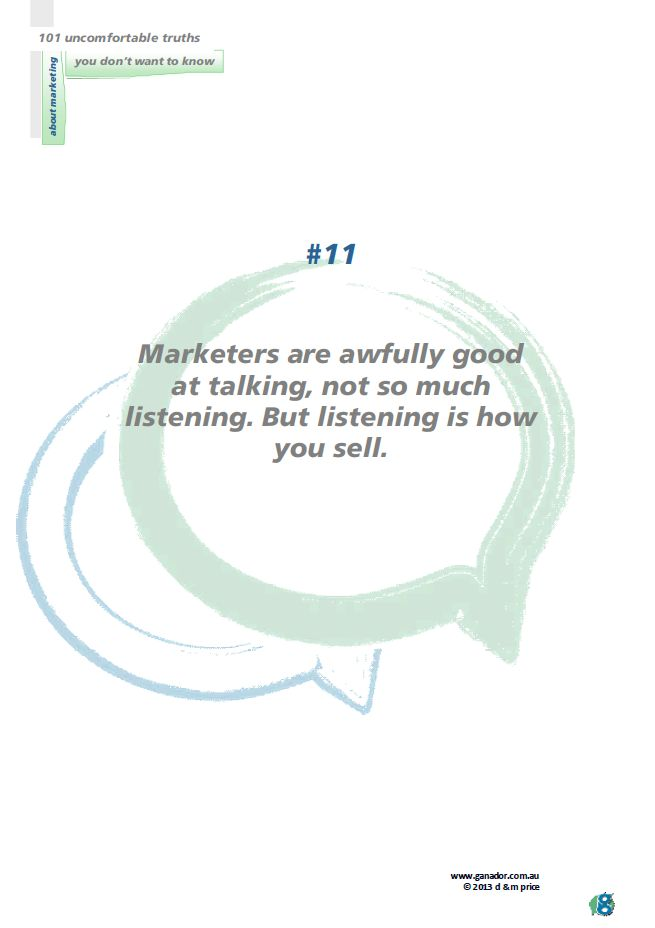No 11 Marketers are awfully good at talking...