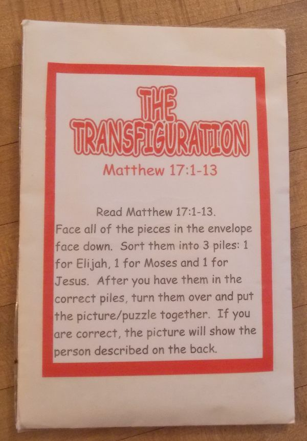 Transfiguration of Jesus Review Activity idea