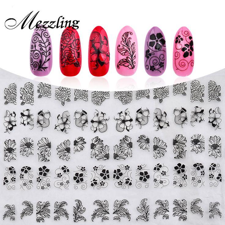 Nieuwe 3D Zwarte Bloemen Nail Stickers Decals, 108 stks/vel Top Kwaliteit Metallic Gemengde Ontwerpen Lijm DIY Nail Art Decoratie Tool