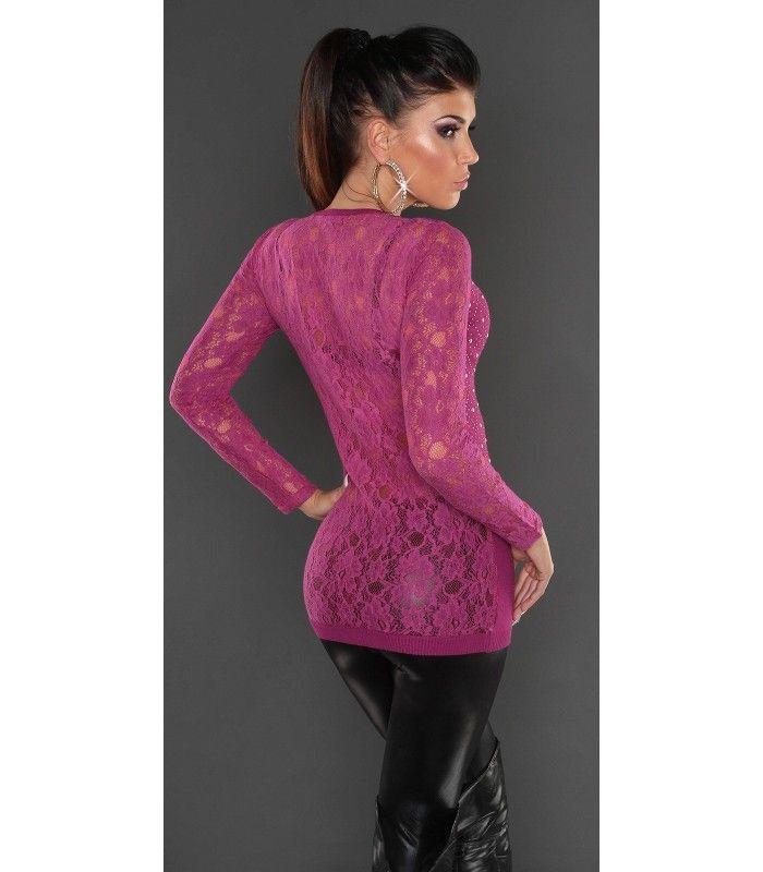 Sexy Maglione lungo donna scollo a V pizzo e strass violetto - Fashionmilano