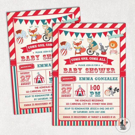 Karneval-Baby-Dusche Einladung. von BlueBunnyPrintables auf Etsy