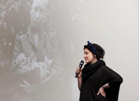 Artist Nelli Palomäki talking about her work