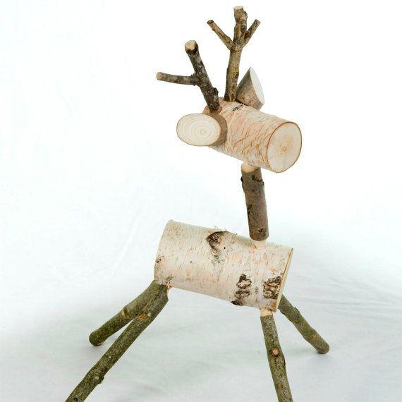 Cute reindeer, wood Christmas deer, white birch decoration, small. OMG this is soo adorable!!