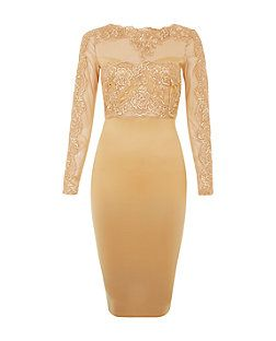 AX Paris Camel Lace Midi Bodycon Dress | New Look