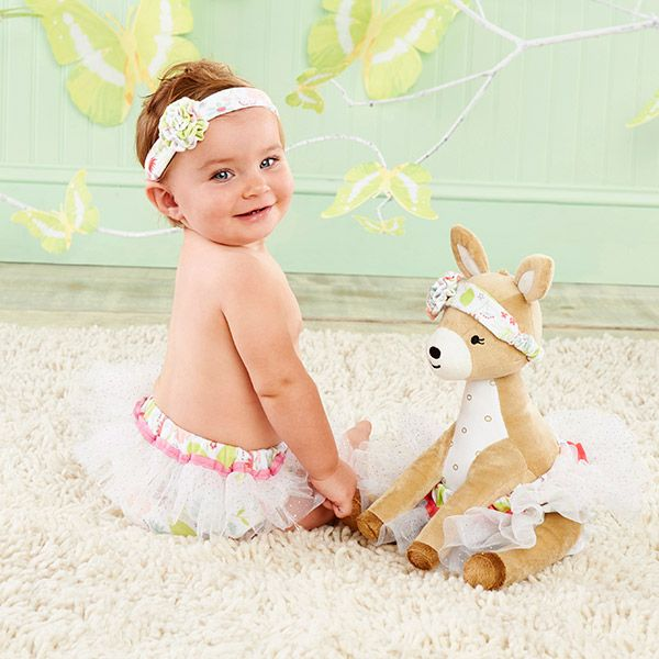 Flora the Fawn is a precious deer plush plus headband and bloomer for baby. This floral friend fits right in a woodland nursery!