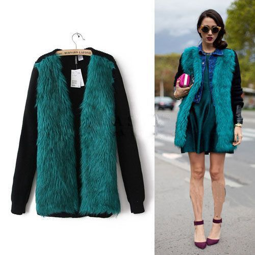 cool Fashion 2015 Leather Grass Green Stitching Sweater Coat Autumn Winter Knitted Cardigan Women Clothing