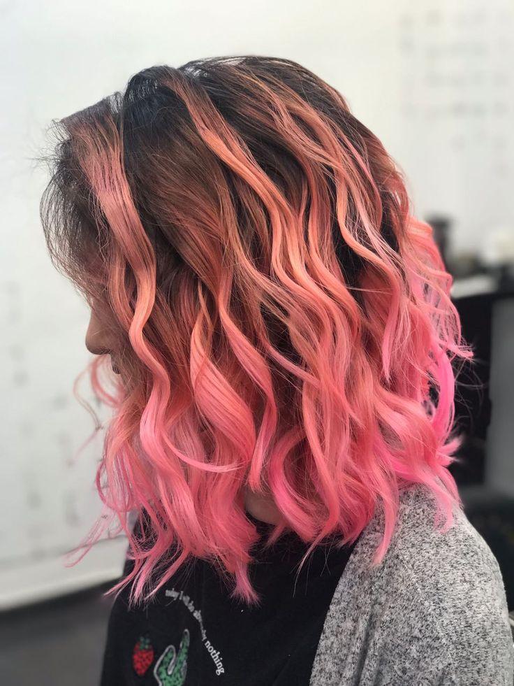 Pink color for hair waves style, street style fashion .  Color trip Розовая глазурь волосы Казахстан