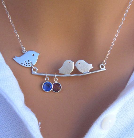 Mommy and Baby bird necklace CUSTOM BIRTHSTONE by RedEnvelopeGifts, $36.00: Gift, Style, Bird Necklace, Jewelry, Necklaces, Birds, Custom Birthstone
