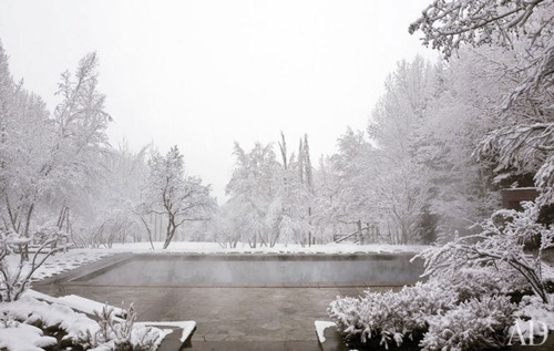 Heated pool in the Aspen snow. Architectural Digest.