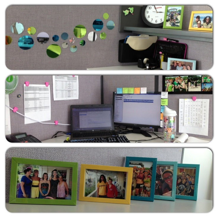 add some pop of color to your boring grey office cubicle with some bight picture frames