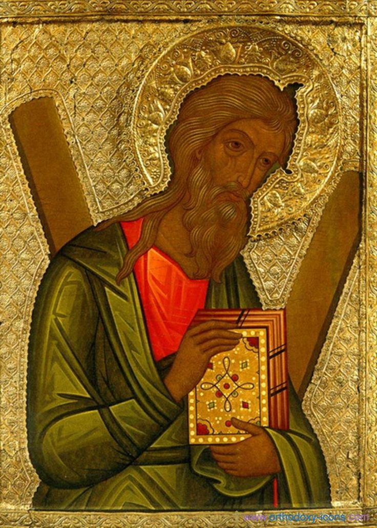 Icons from the Romanov dynasty. ~~~ I'm pretty sure this is St. Andrew, given the X-shaped cross behind him, and the features of his head which comport with his traditional representation.