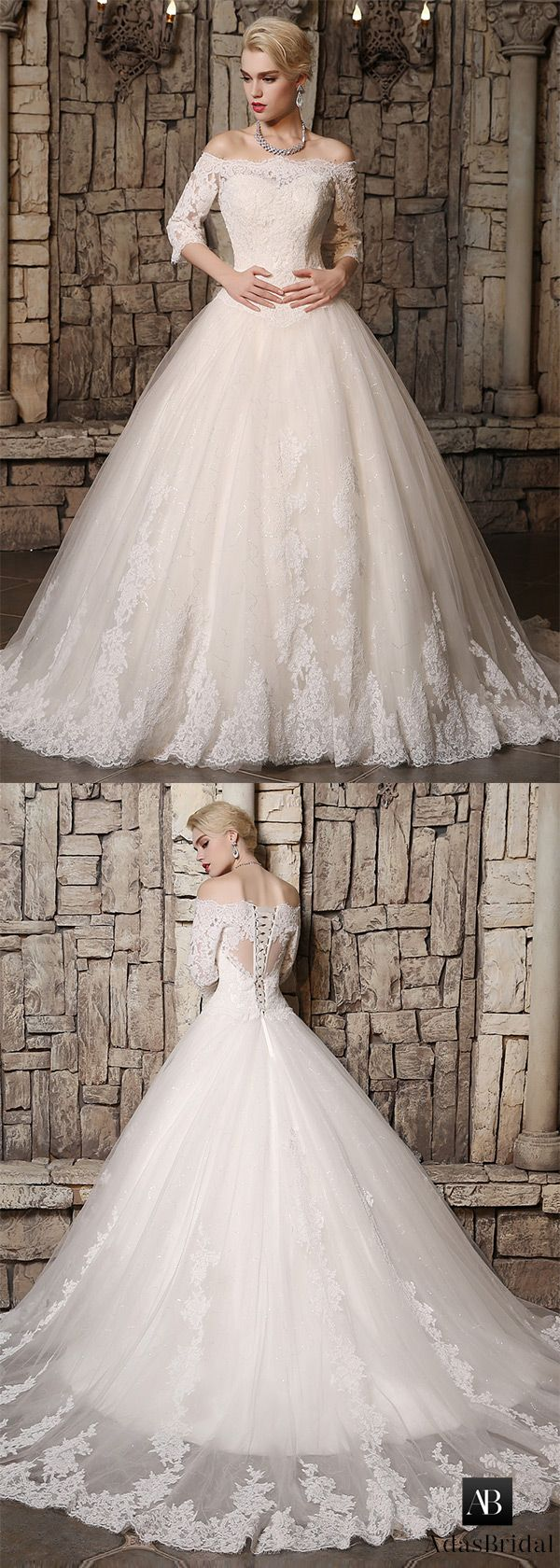 Fabulous tulle off-the-shoulder neckline ball gown wedding dresses with lace appliques. 100% real model photo. (WWD27916) - Adasbridal.com