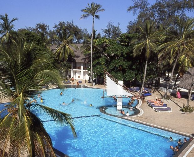 Turtle Bay Beach Club- is situated on 200 metres of beach on the edge of the internationally acclaimed Watamu National Marine Park, one of the best in Kenya. The hotel buildings are set in 10 acres of tropically landscaped gardens with 145 rooms, three restaurants, three bars, entertainment lounge and swimming pool, and as such makes up one of the most extensive all-inclusive properties in Kenya.