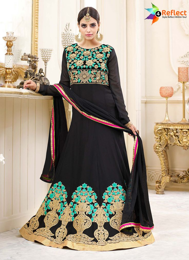 BLOOMING BLACK GEORGETTE FLOOR LENGTH ANARKALI SUIT