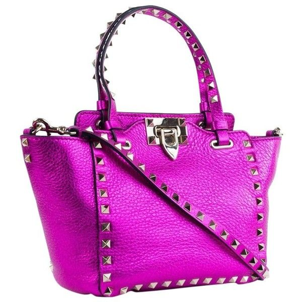 Preowned Valentino Women's Metallic Pink Mini Rockstud Trapeze Tote... ($1,165) ❤ liked on Polyvore featuring bags, handbags, tote bags, pink, shoulder bags, mini tote bags, summer tote bags, leather tote bags, handbags totes and pink tote