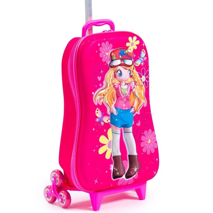 Girls Pink 3D Cute Face Princess Theme Wheeled Upright Rolling Suitcase All OverFlowers Butterflies Carry Travel Wheeled Suit Bag Wheels Wheeling