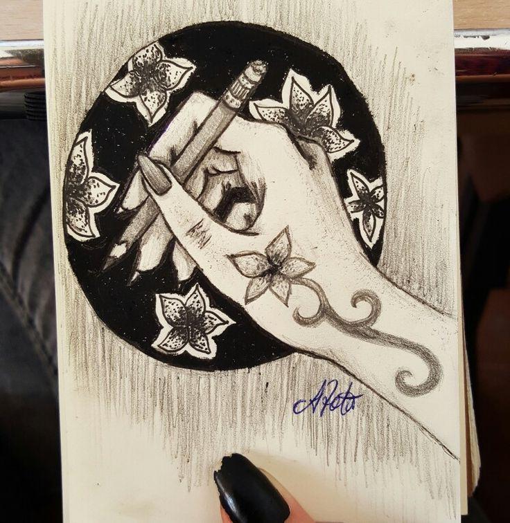 #hand #pencil #drawing #flowers #tattoo