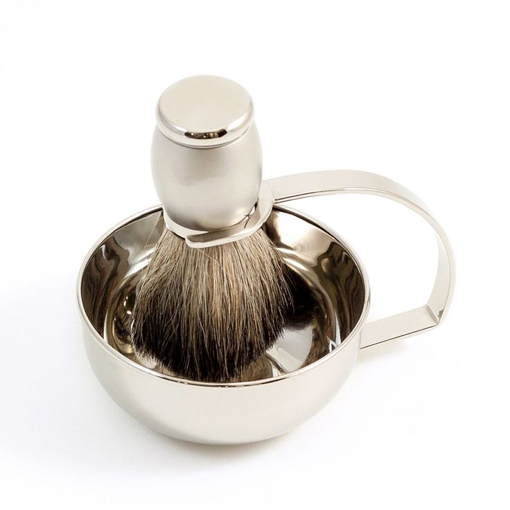Chrome-Plated Soap Dish and Badger Shaving Brush Set, Multicolor